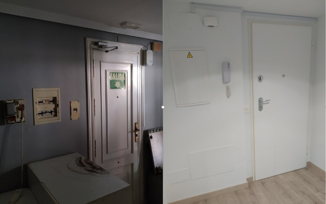 Antes y después reforma entrada piso Almería